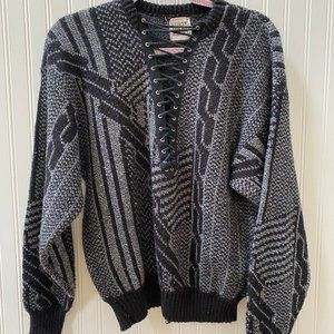 NWOT Retro Lace Up Sweater